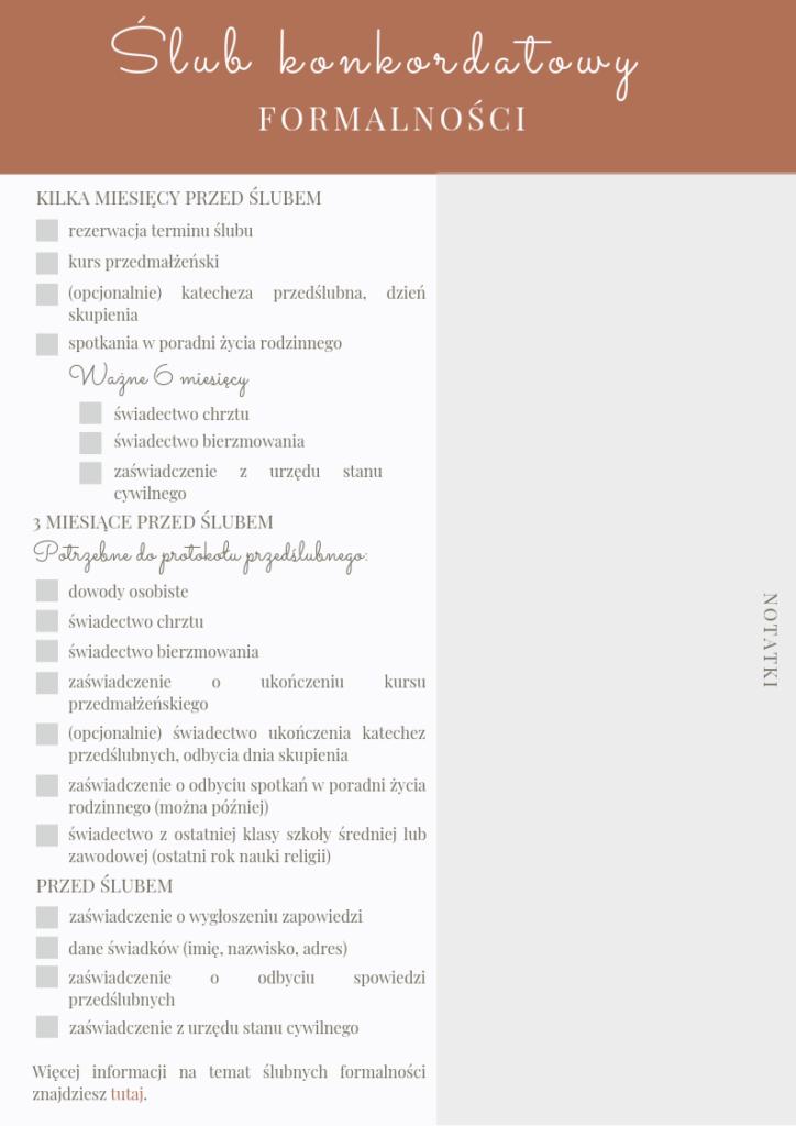 checklista ślubnych formalności - ślub konkordatowy