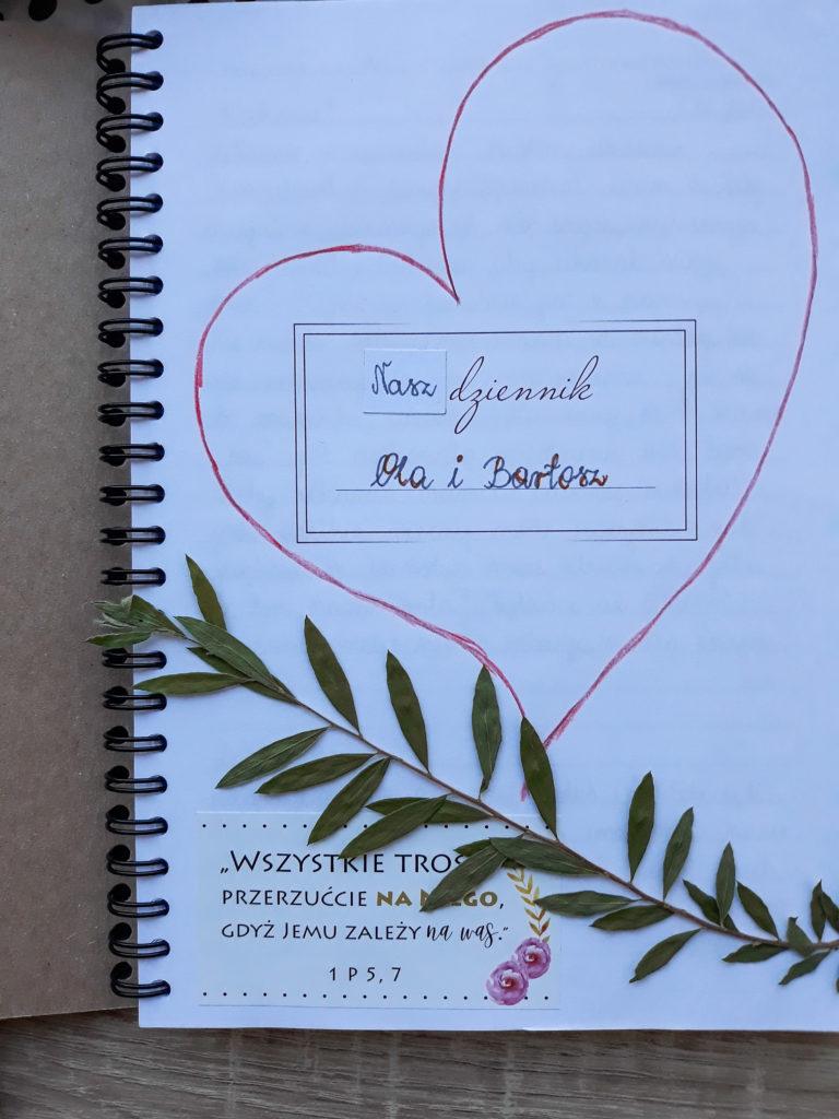 strona tytułowa z notesu modlitw dla narzeczonych / małżeństw