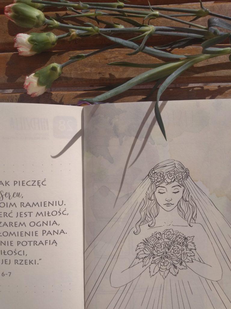 Zdjęcie przedstawia grafikę oblubienicy z Pieśni nad Pieśniami.